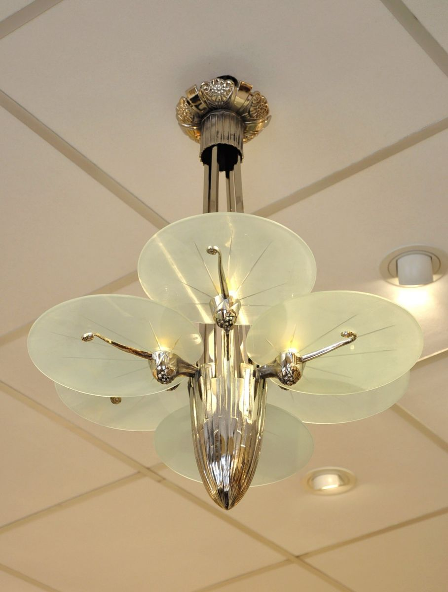 Art Deco Silver Plated Bronze Chandelier with 6 Plates, 1930s for ...