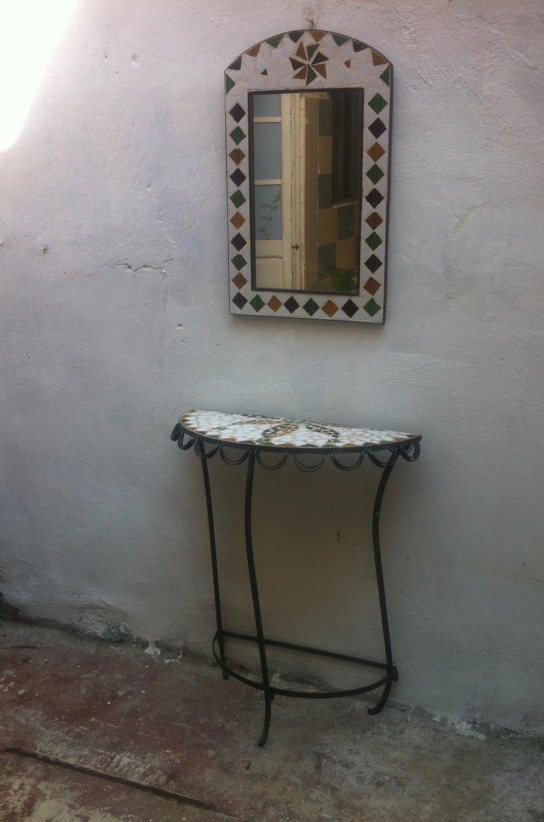 Consolle E Specchio In Ferro E Ceramica Anni 39 70 In