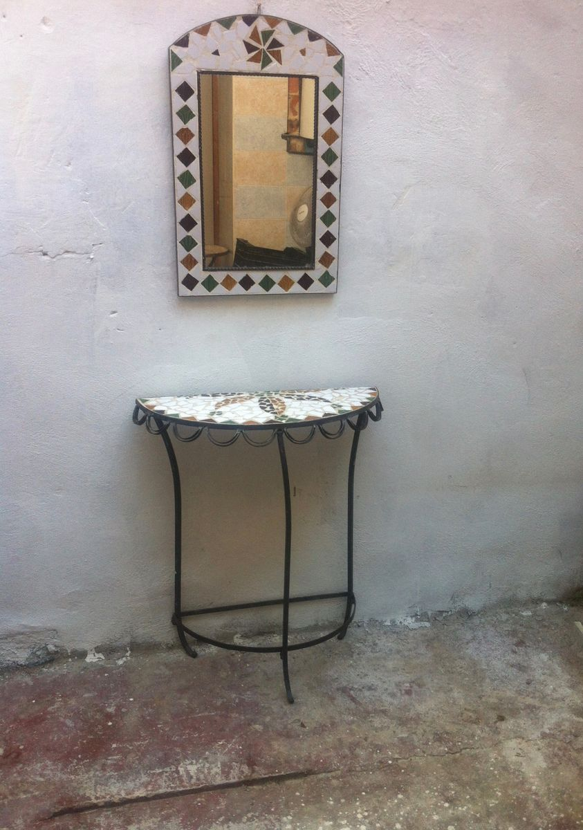 Iron U0026 Ceramic Console Table U0026 Mirror, 1970s