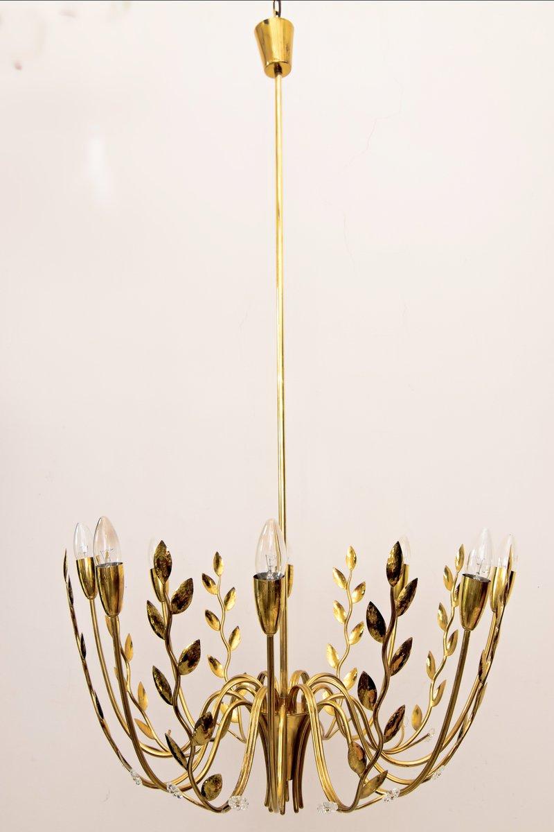 Kronleuchter mit Acht Leuchten & Geschlagenen Blättern, 1950er