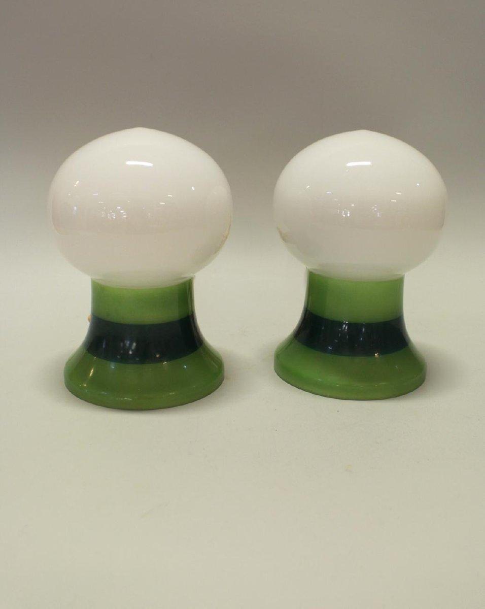 Tischlampen aus Massivem Glas, 1960er, 2er Set