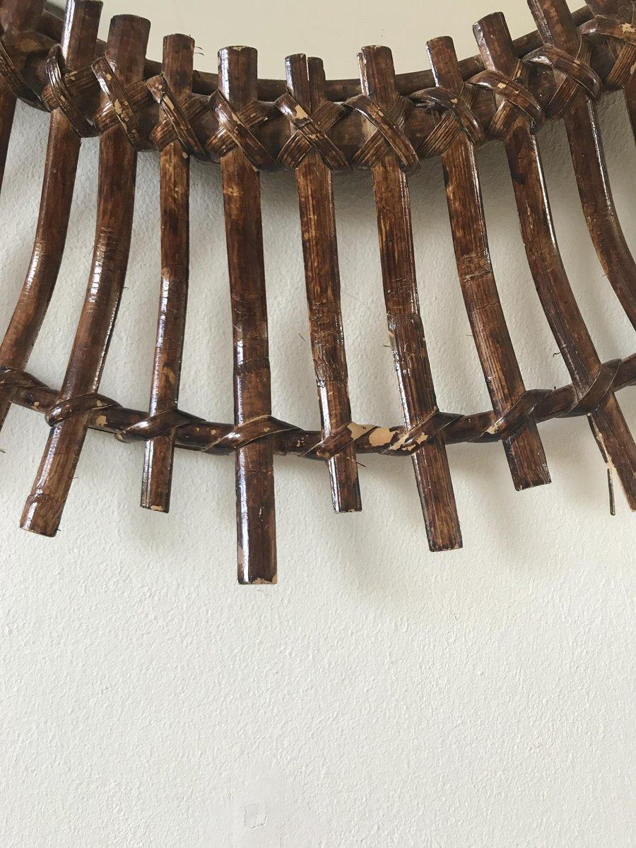Espejo espa ol mid century moderno oval de rat n con forma for Espejos decorativos con forma de sol
