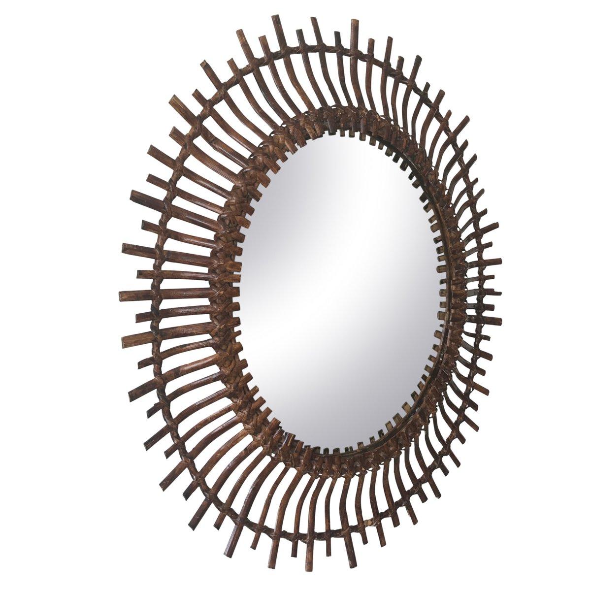 Specchio ovale mid century moderno a forma di sole in vimini spagna anni 39 60 in vendita su pamono - Specchio a forma di sole ...