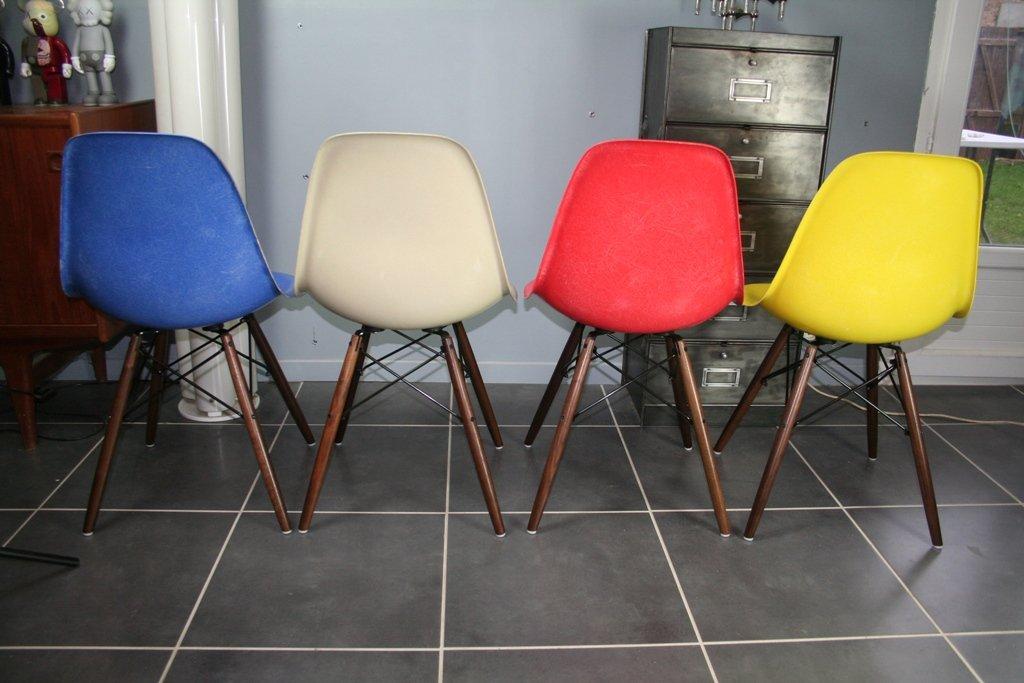 vintage dsw glasfaser st hle von charles eames f r. Black Bedroom Furniture Sets. Home Design Ideas