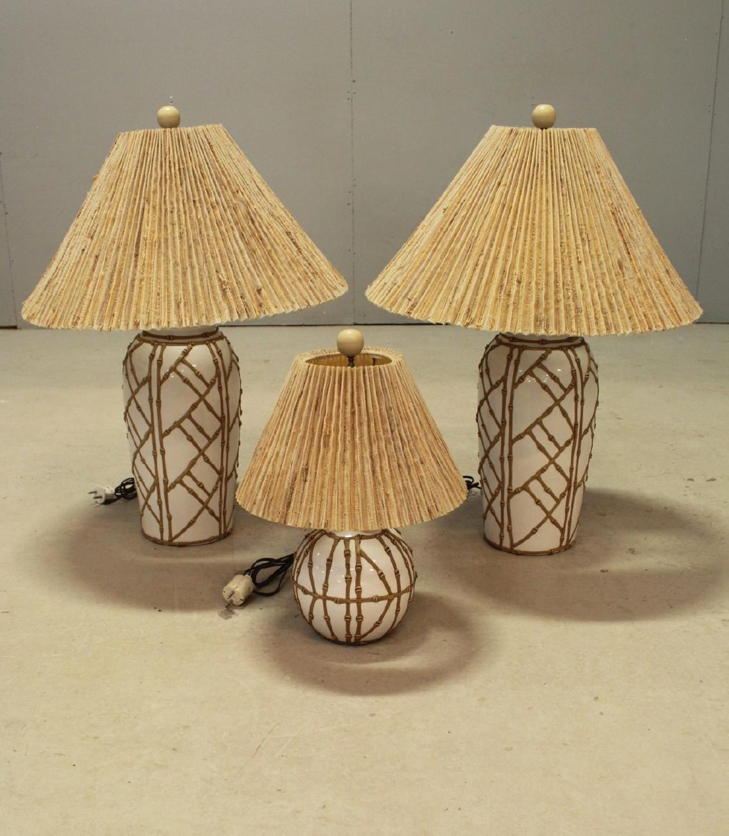 Vintage Hollywood Regency Chinoiserie Tischlampen aus Kunstbambus, 3er...