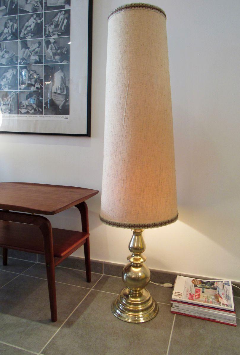 Große Messing Stehlampe, 1970er