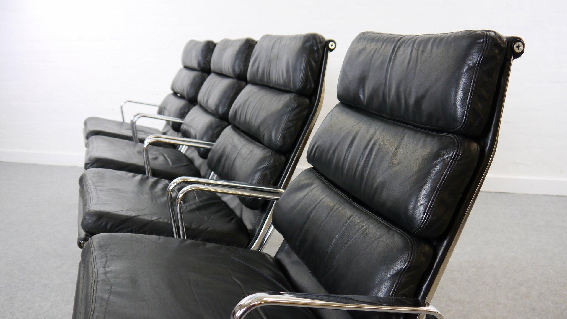 vintage ea 216 sessel mit weichem sitzkissen von charles eames f r herman miller 4er set bei. Black Bedroom Furniture Sets. Home Design Ideas