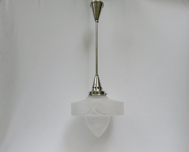 Vintage Art Deco Eisglas Deckenlampe