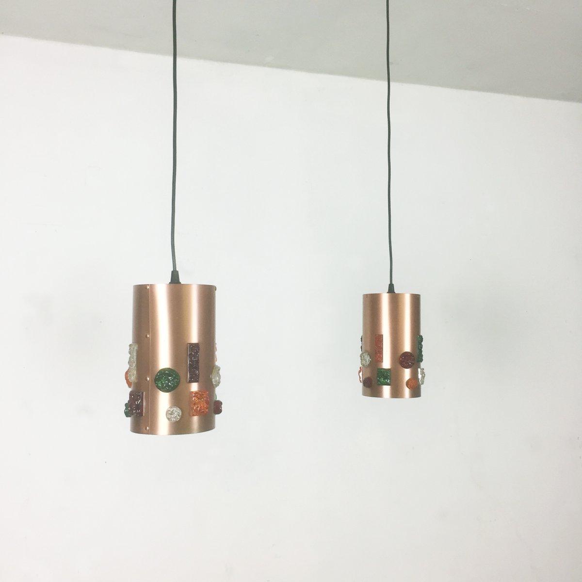 Deutsche Kupfer Hängelampe, 1970er, 2er Set