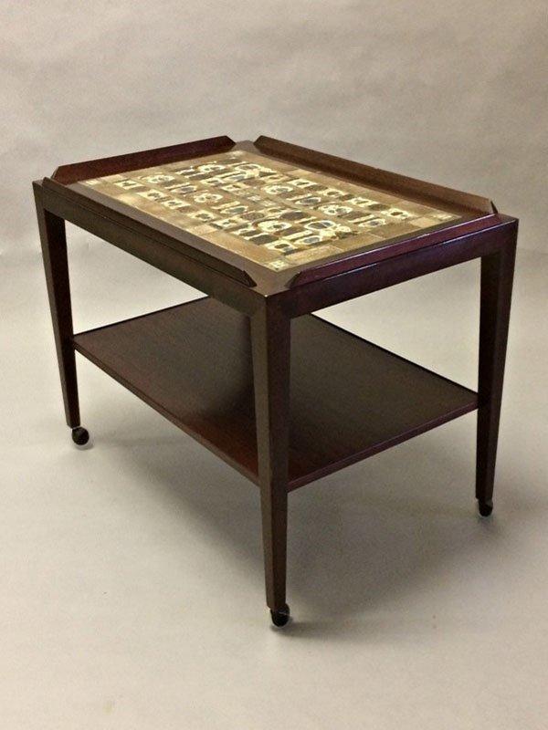 palisander beistelltisch auf rollen mit keramikfliesen von. Black Bedroom Furniture Sets. Home Design Ideas