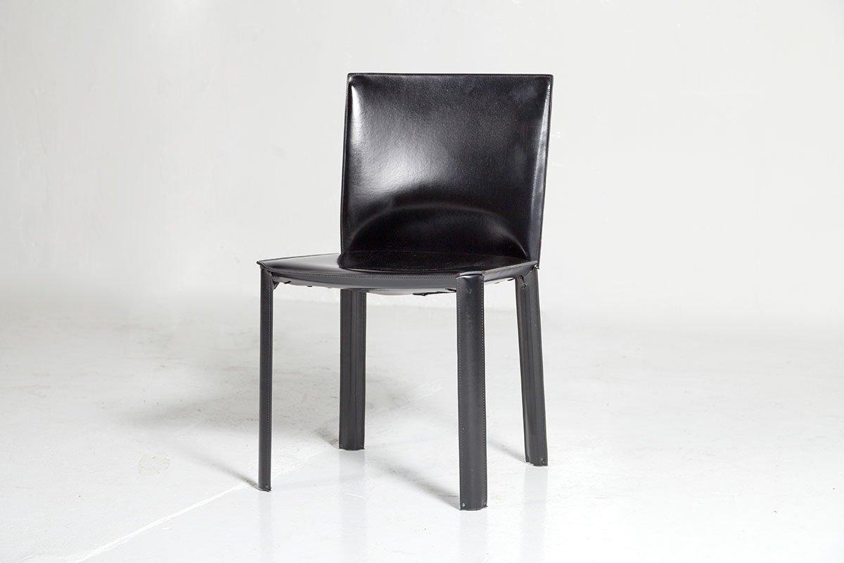 Sedie in pelle nera di De Couro, anni \'80 in vendita su Pamono