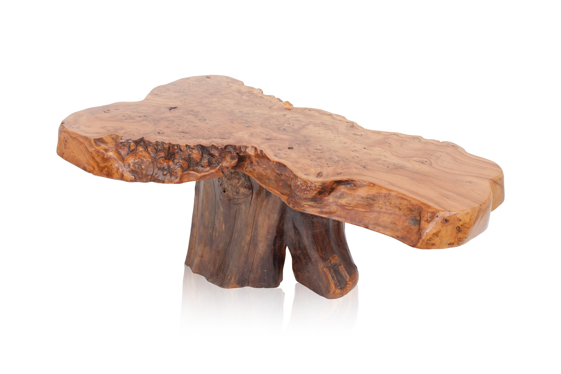 Vintage Natural Burl Wood High Gloss Coffee Table