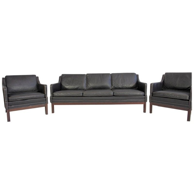 Vintage Black Buffalo Leather Sofa Two Easy Chairs Set Of 3
