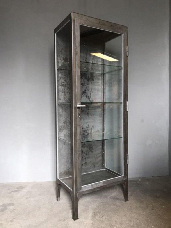 Beau Polish Polished Metal Medical Cabinet, 1950s