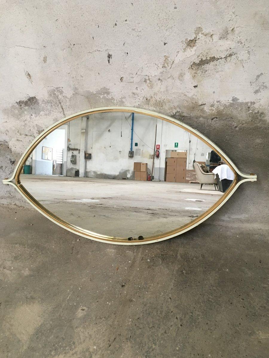 Specchio mid century a forma di occhio in legno e metallo for Specchio unghia anni 70