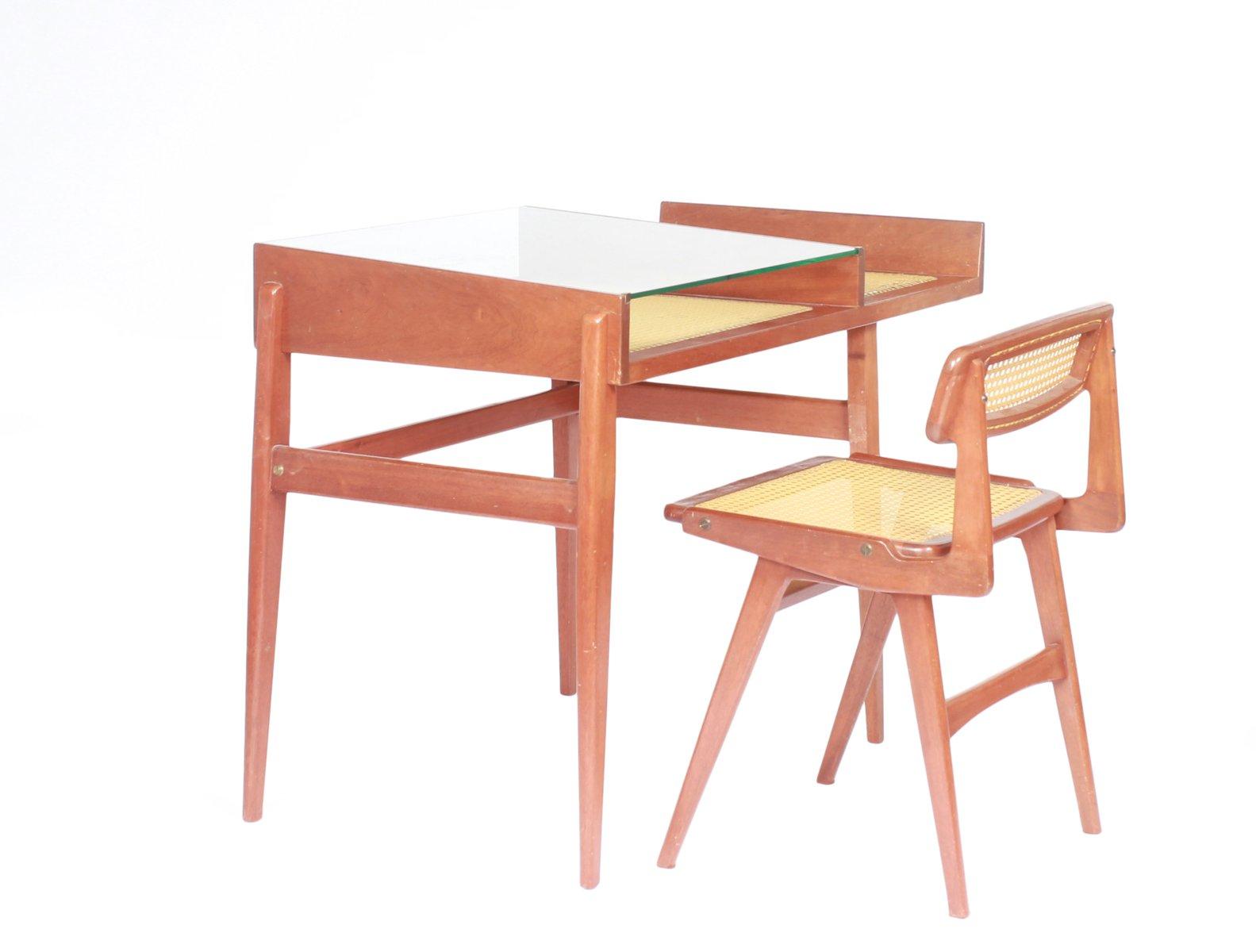 vintage schreibtisch und stuhl aus korbgeflecht von roger landault bei pamono kaufen. Black Bedroom Furniture Sets. Home Design Ideas