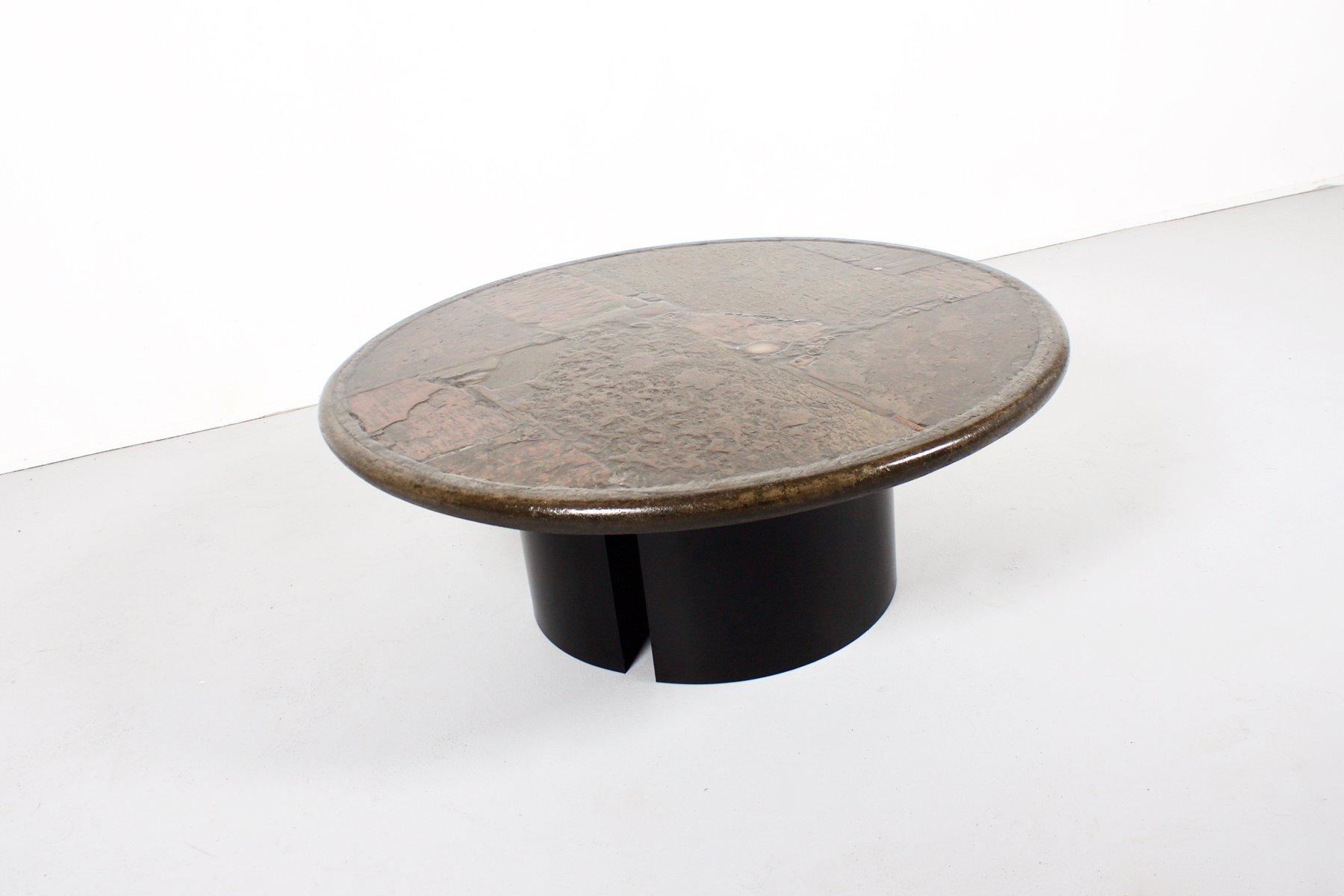 Agate, Slate, U0026 Brass Coffee Table By Paul Kingma, 1970s