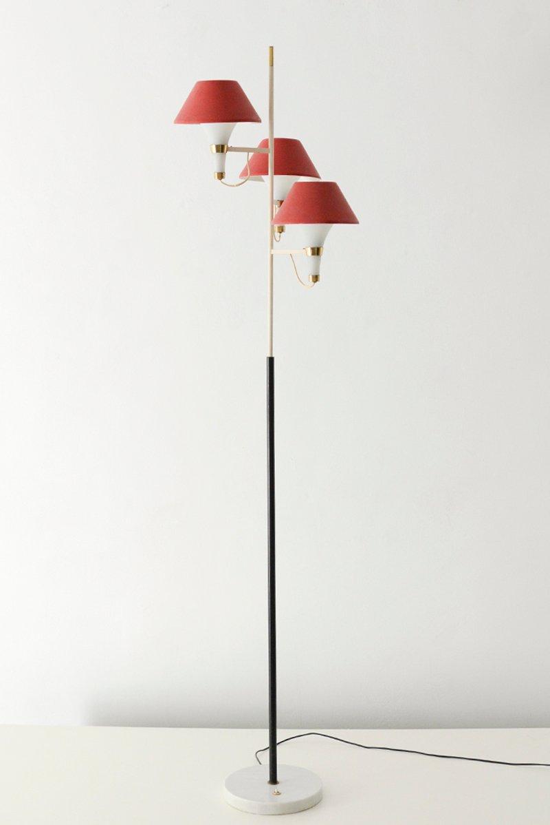 Stehlampe mit Roten Leuchten von Stilux, 1950er