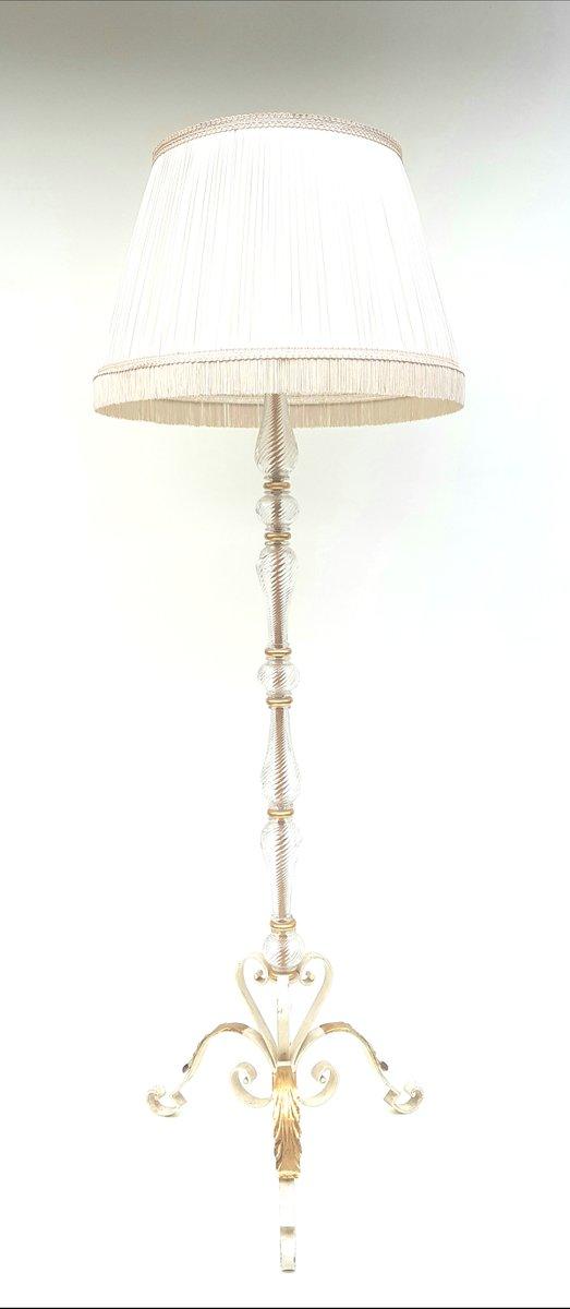 Lampada da tavolo in ferro battuto e vetro anni 39 40 in - Tavolo ferro battuto e vetro ...