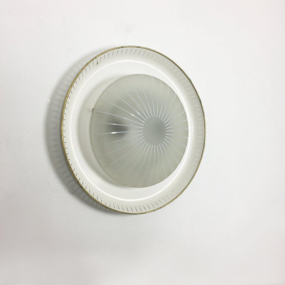 moderne wandleuchte aus metall glas 1950er bei pamono. Black Bedroom Furniture Sets. Home Design Ideas