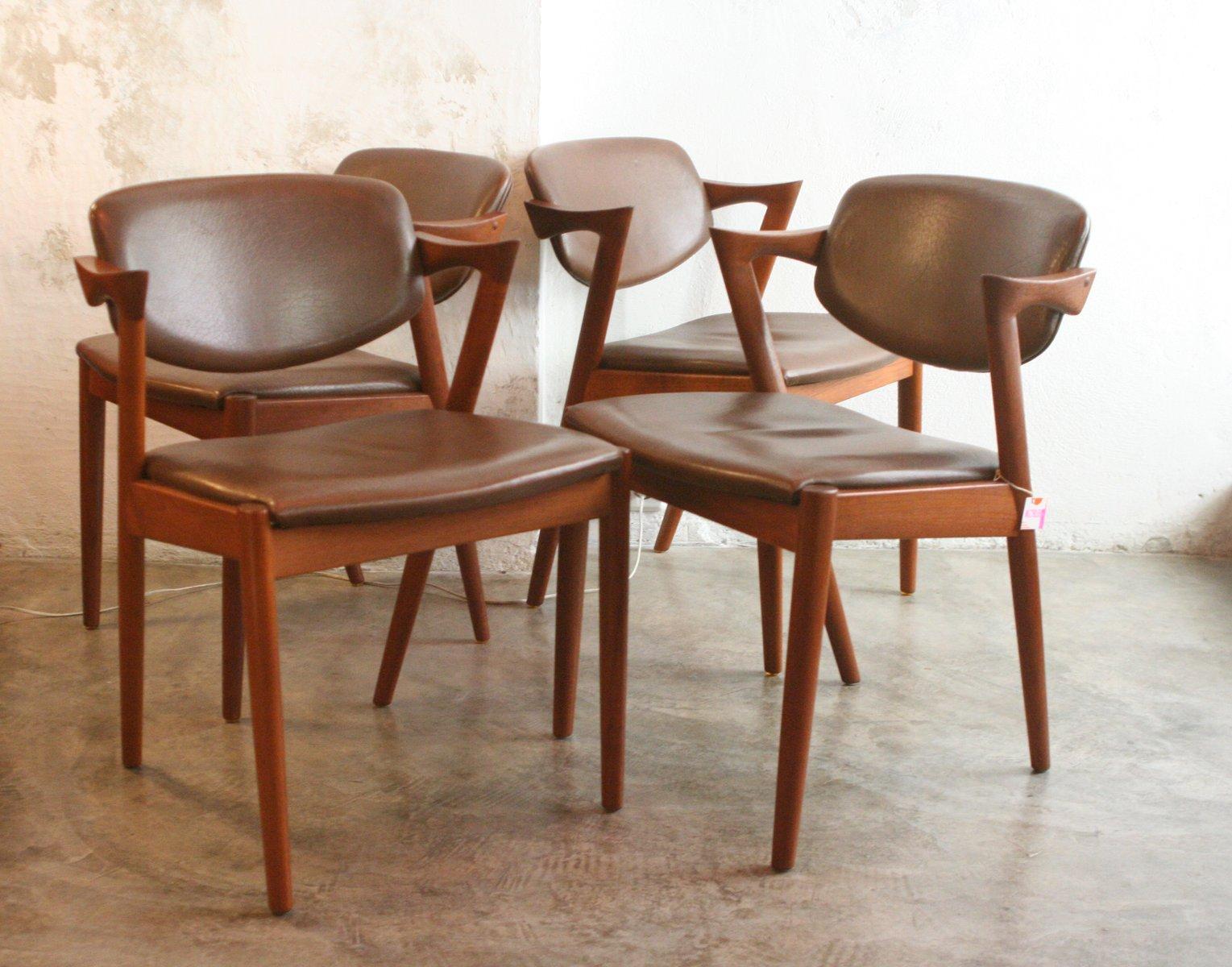 Sedie Vintage Pelle : Sedie modello nr. 42 vintage in teak e pelle di kai kristiansen set