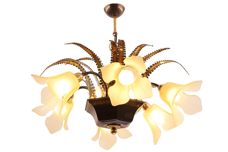 Brutalistischer Vintage Kronleuchter mit Sechs Leuchten in Blumenform