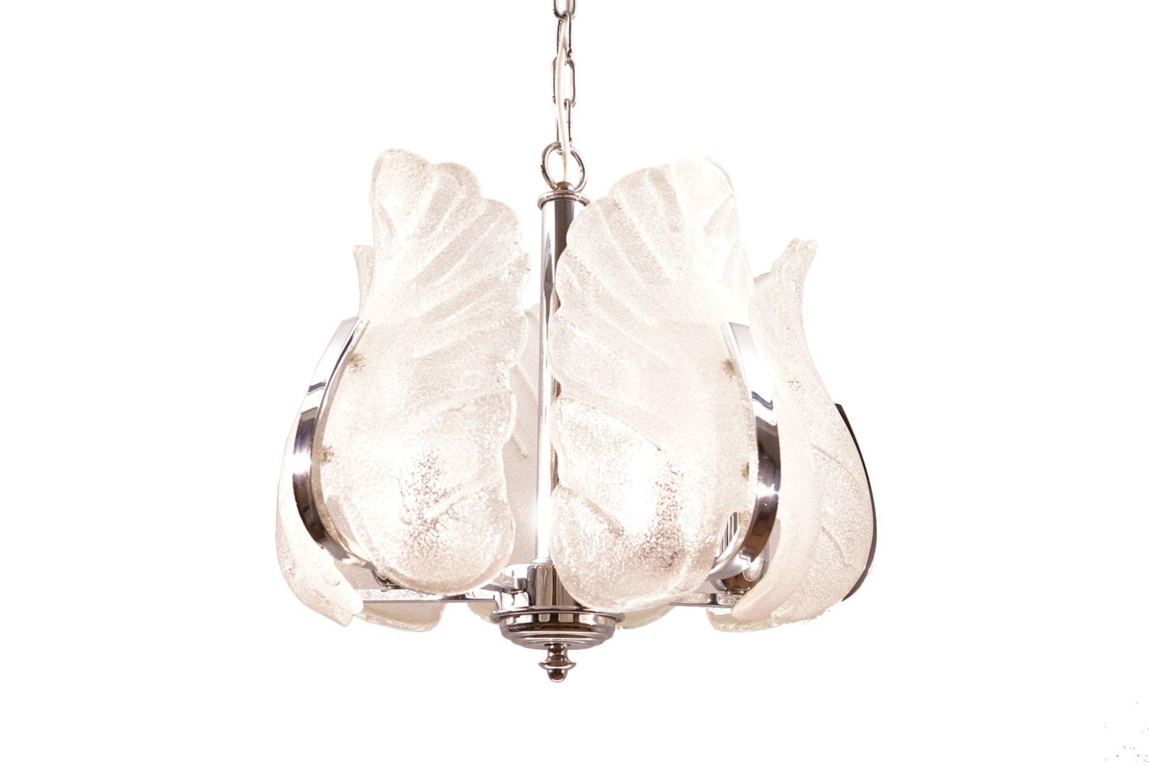 Vintage Kronleuchter aus Chrom & Murano Glas von Carl Fagerlund für Or...