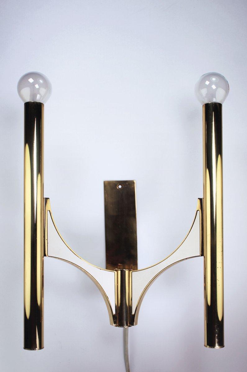 Messing Wandlampe von Gaetano Sciolari, 1970er