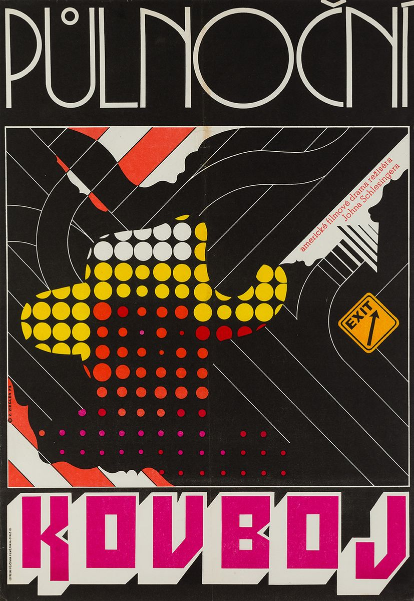 Asphalt Cowboy Plakat von Zdenek Ziegler, 1973