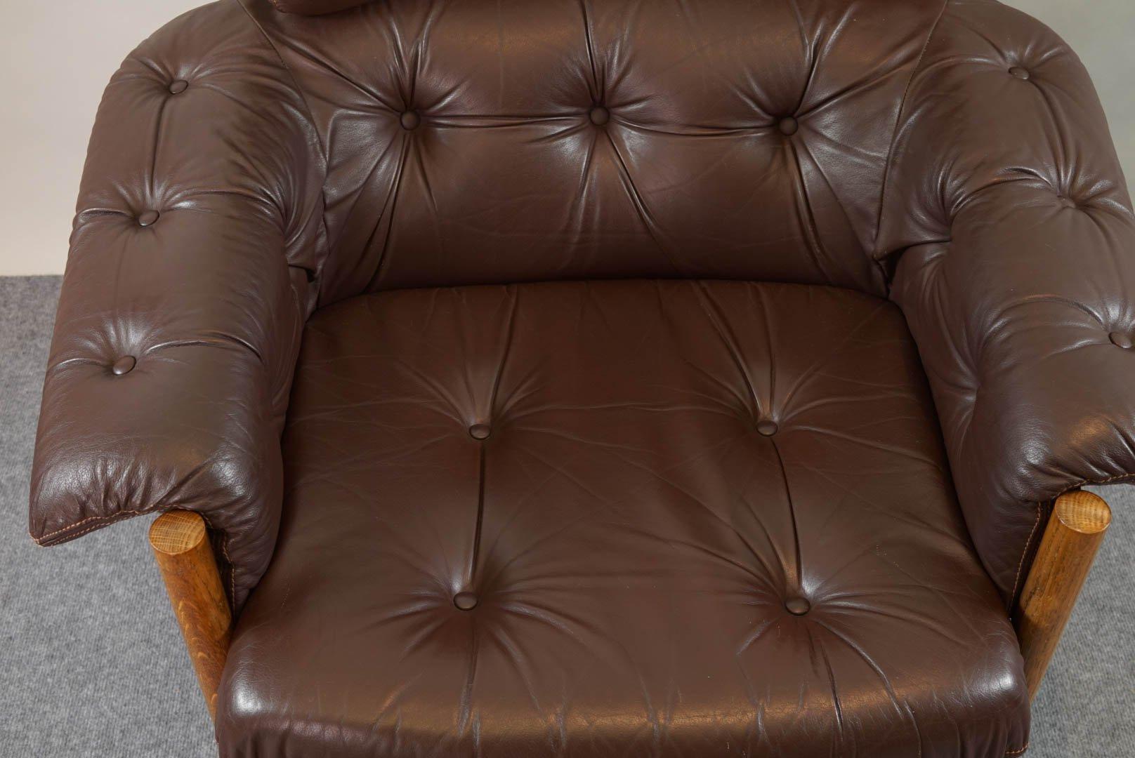 Sessel aus Leder und Teak 1960er bei Pamono kaufen