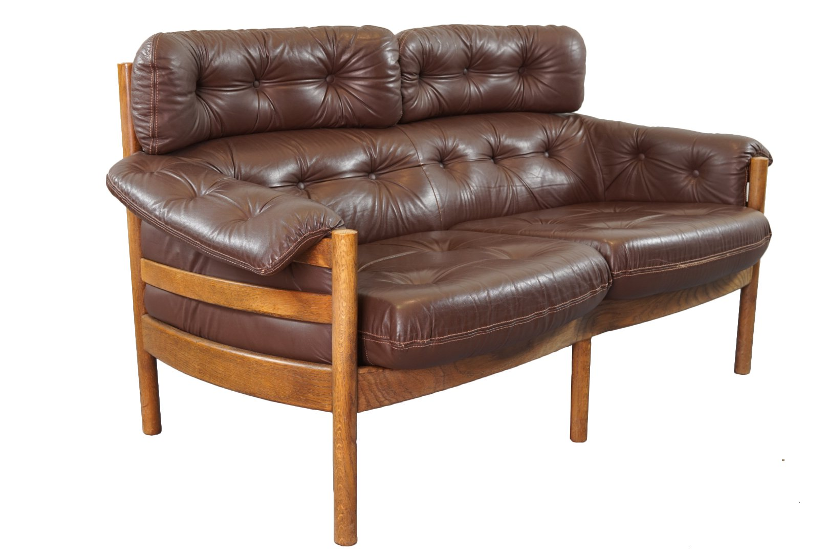 Vintage Tufted Leather Sofa By Arne Norell For Coja For