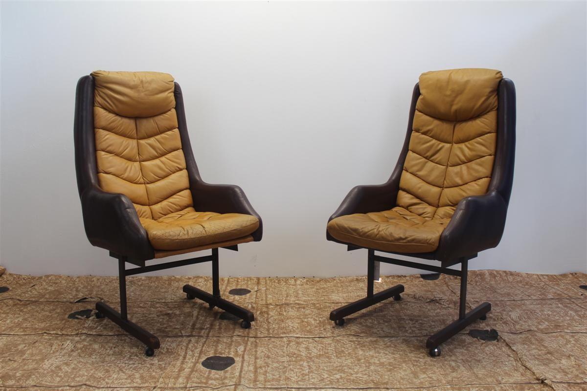 italienische mid century ledersessel auf rollen 2er set bei pamono kaufen. Black Bedroom Furniture Sets. Home Design Ideas