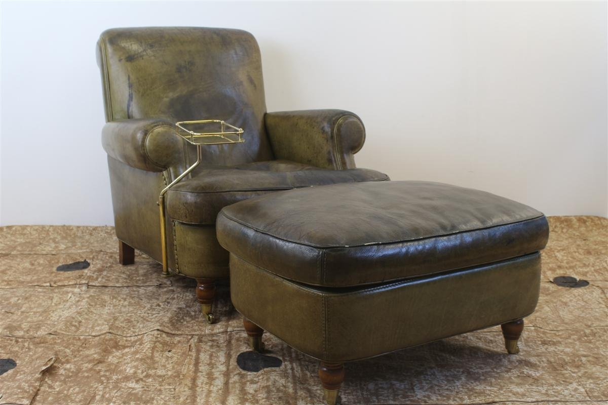 Vintage Club Chair In Green Leather With Pouf And Smoker Table By Giuseppe  Mazza For Baxter, Set Of 2