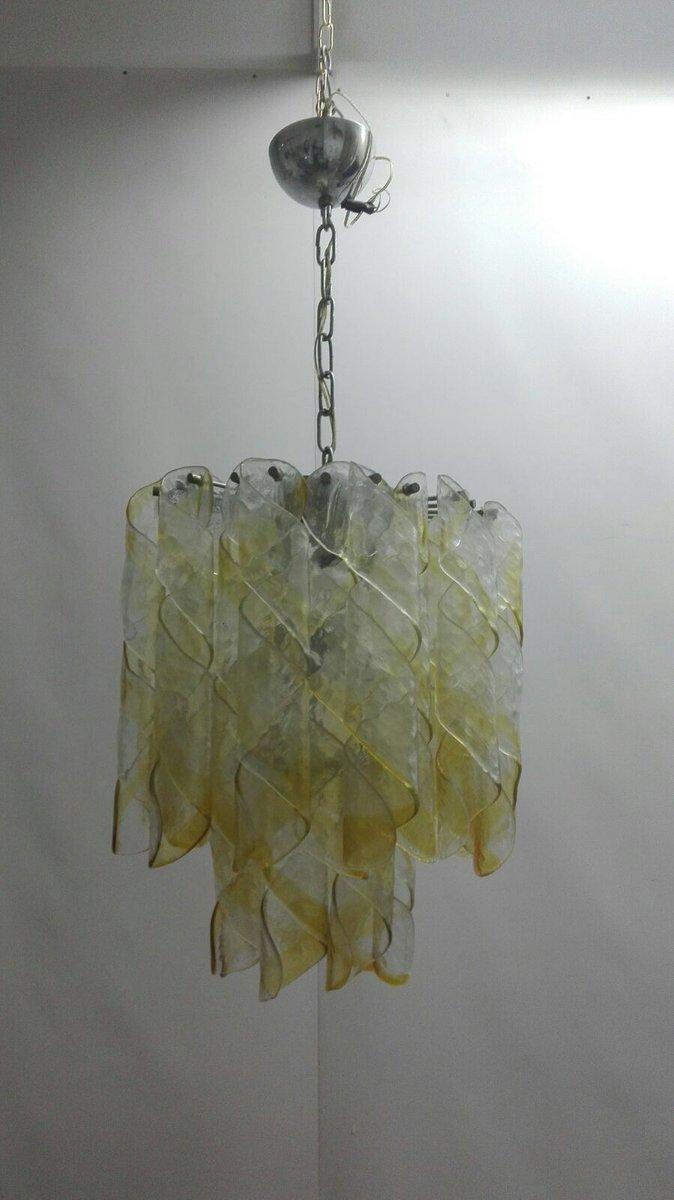 Kronleuchter mit Bernsteinfarbenen Murano Glas Elementen von Mazzega, ...