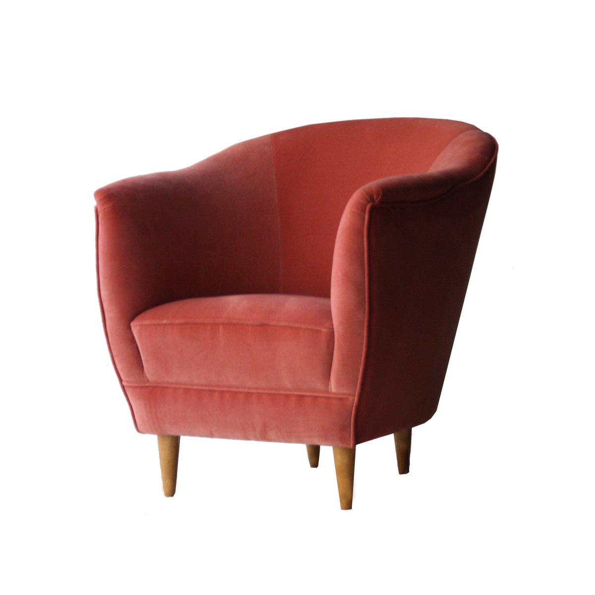 Italienische sessel aus korallenrotem samt 1950er 2er for Sessel italienisches design
