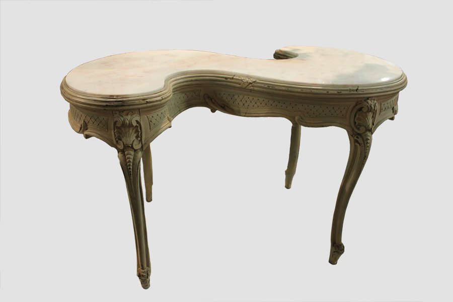S Shaped 19th Century French Marble Top Table
