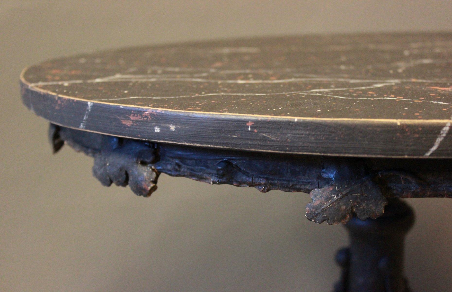 Table d 39 appoint ronde avec plateau marbr noir 1880s en vente sur pamono - Table ronde plateau marbre ...