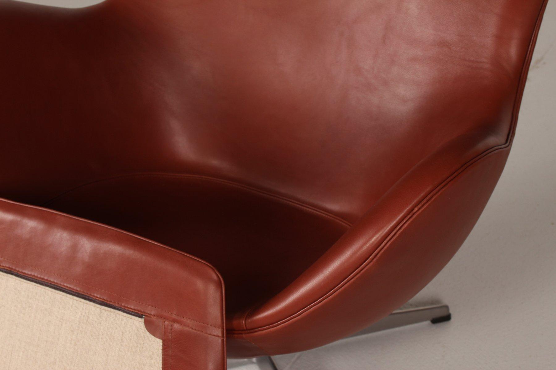 3316 cognacfarbener leder egg chair von arne jacobsen f r fritz hansen 1969 bei pamono kaufen. Black Bedroom Furniture Sets. Home Design Ideas