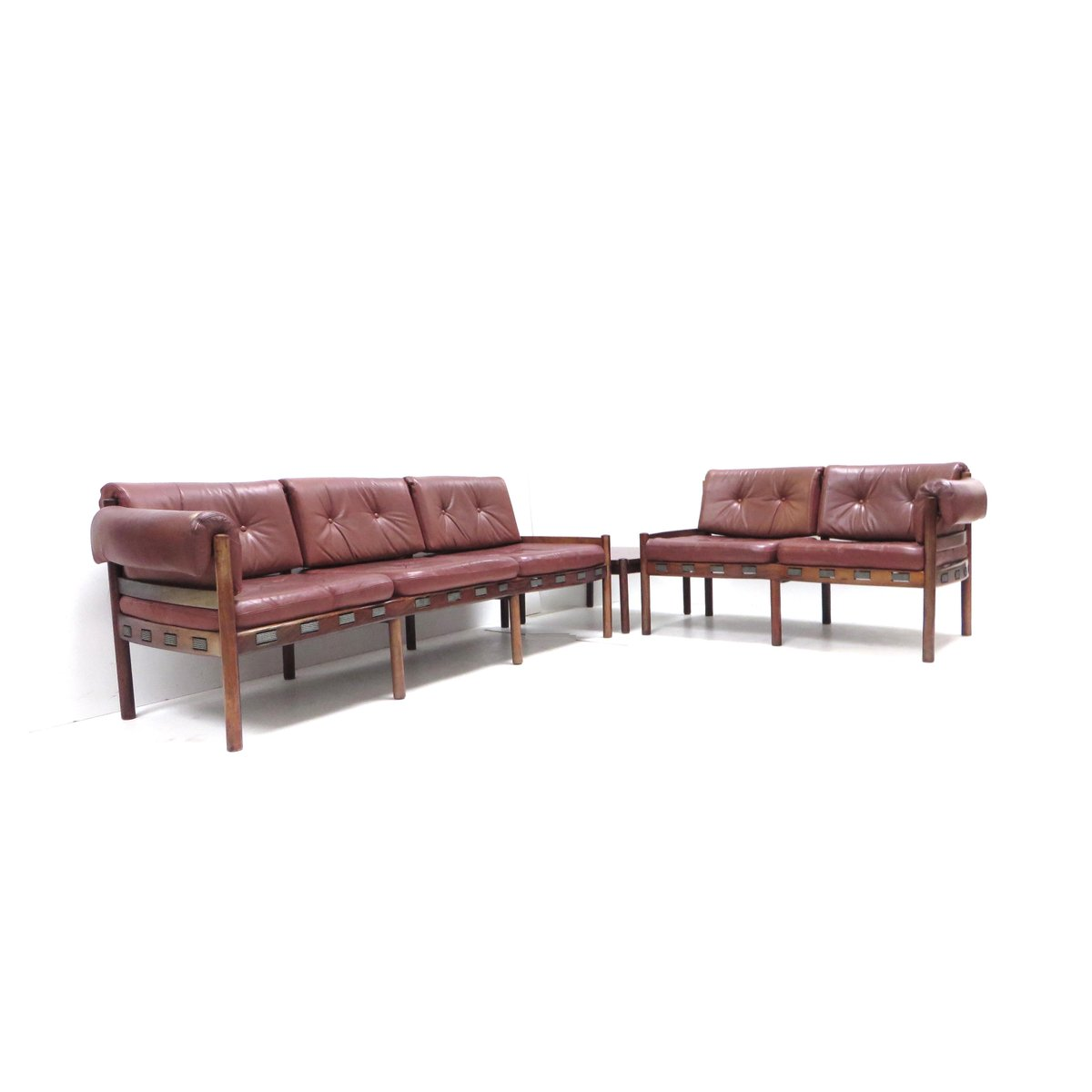Corner Sofa Bed London Sale: Leather Corner Sofa With Table, 1960s For Sale At Pamono
