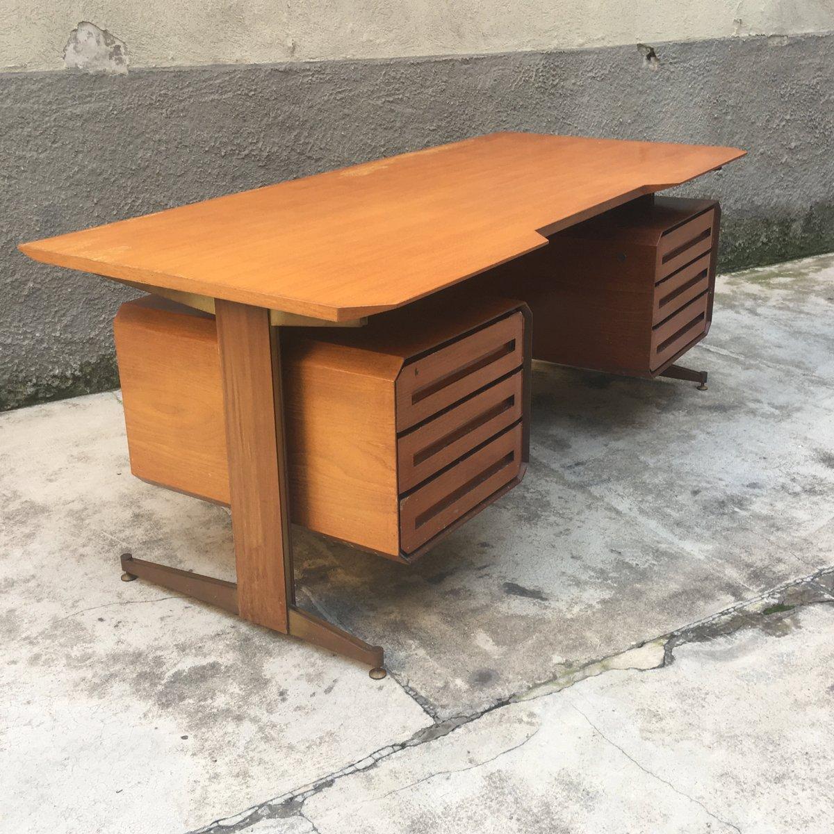 Bureau vintage en bois et m tal italie en vente sur pamono - Bureau metal et bois ...