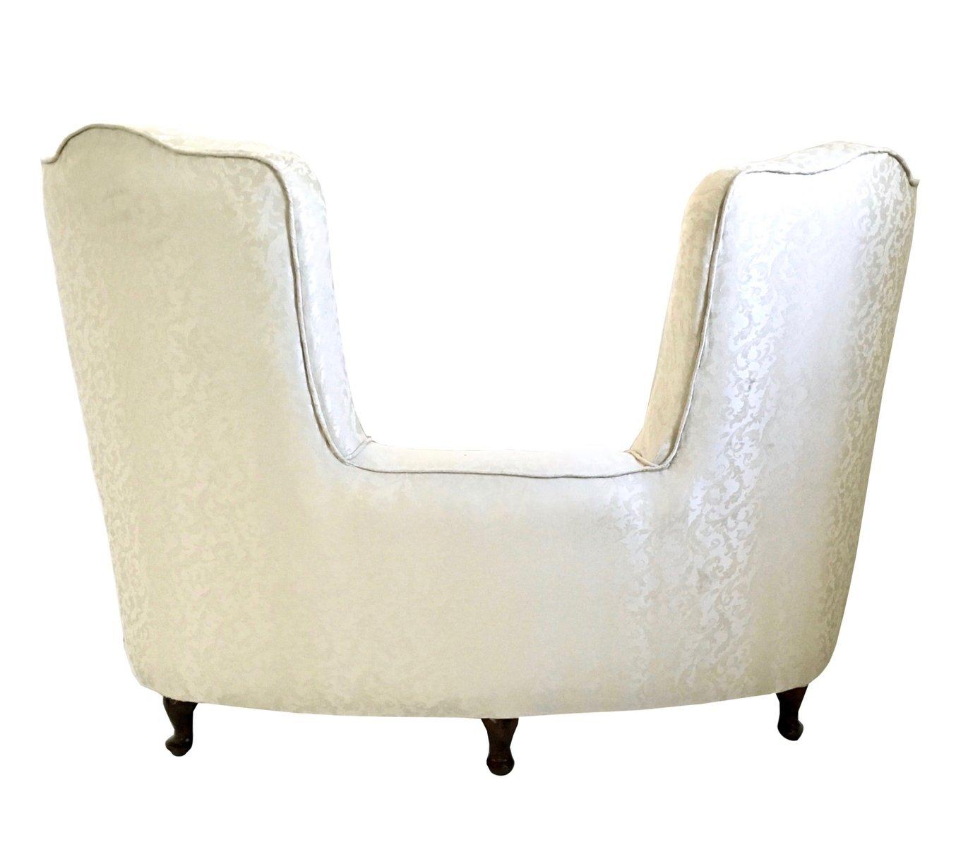 italienisches sofa aus stoff mit holzf en 1950er bei. Black Bedroom Furniture Sets. Home Design Ideas