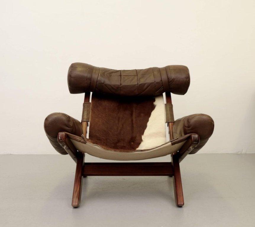 Dänischer Rindsleder Sessel, 1960er