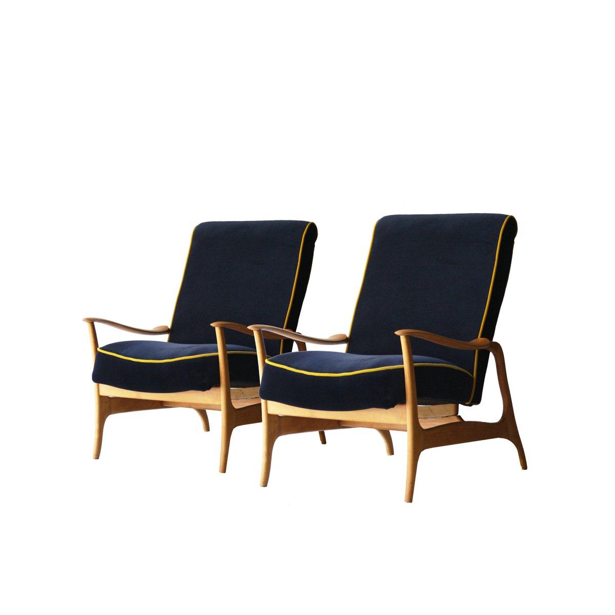italienische sessel aus blauem samt 1960er 2er set bei pamono kaufen. Black Bedroom Furniture Sets. Home Design Ideas