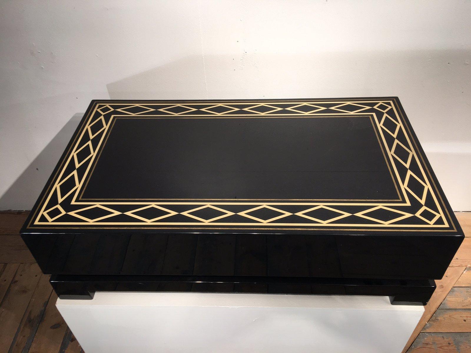 table basse vintage laqu e en marqueterie en vente sur pamono. Black Bedroom Furniture Sets. Home Design Ideas