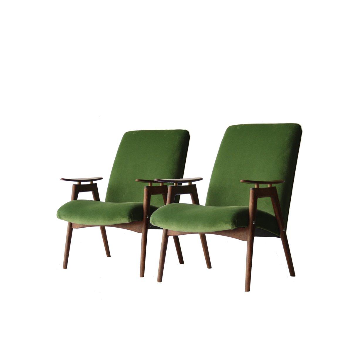 Französische Sessel in Grünem Samt, 1960er, 2er Set