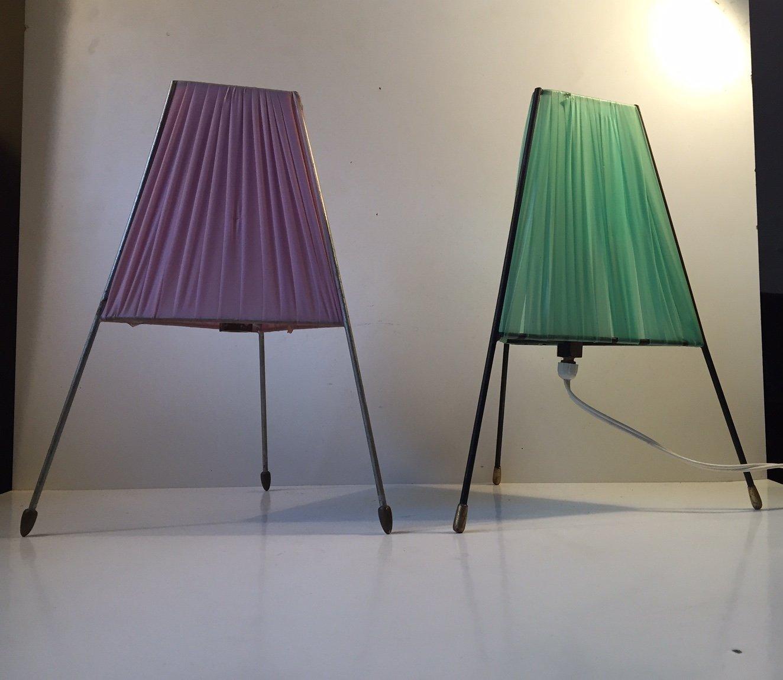 Moderne Italienische Dreifuß Tischlampen mit Messing Akzenten, 1950er,...