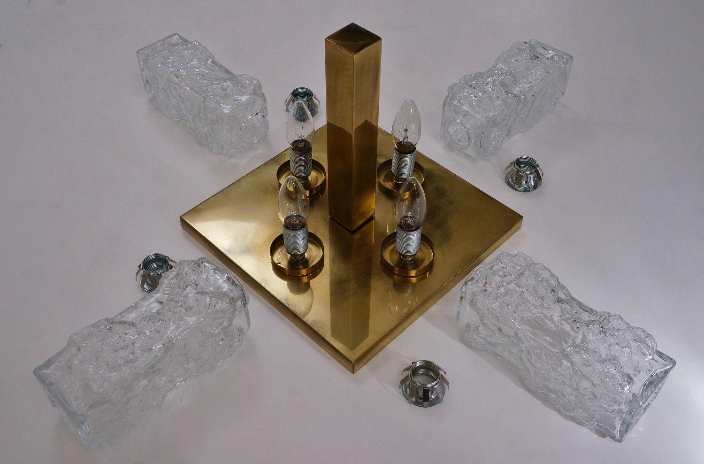 brutalistische sterreichische deckenlampe aus messing glas von kalmar 1970er bei pamono kaufen. Black Bedroom Furniture Sets. Home Design Ideas