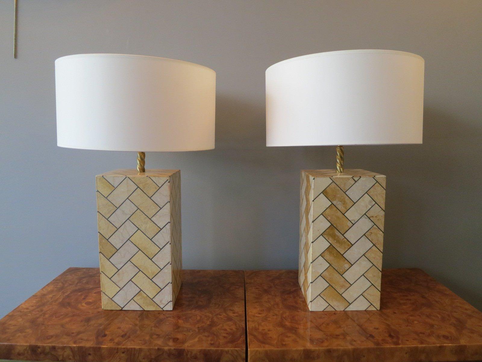 Hohe Vintage Marmor & Messing Tischlampen, 2er Set