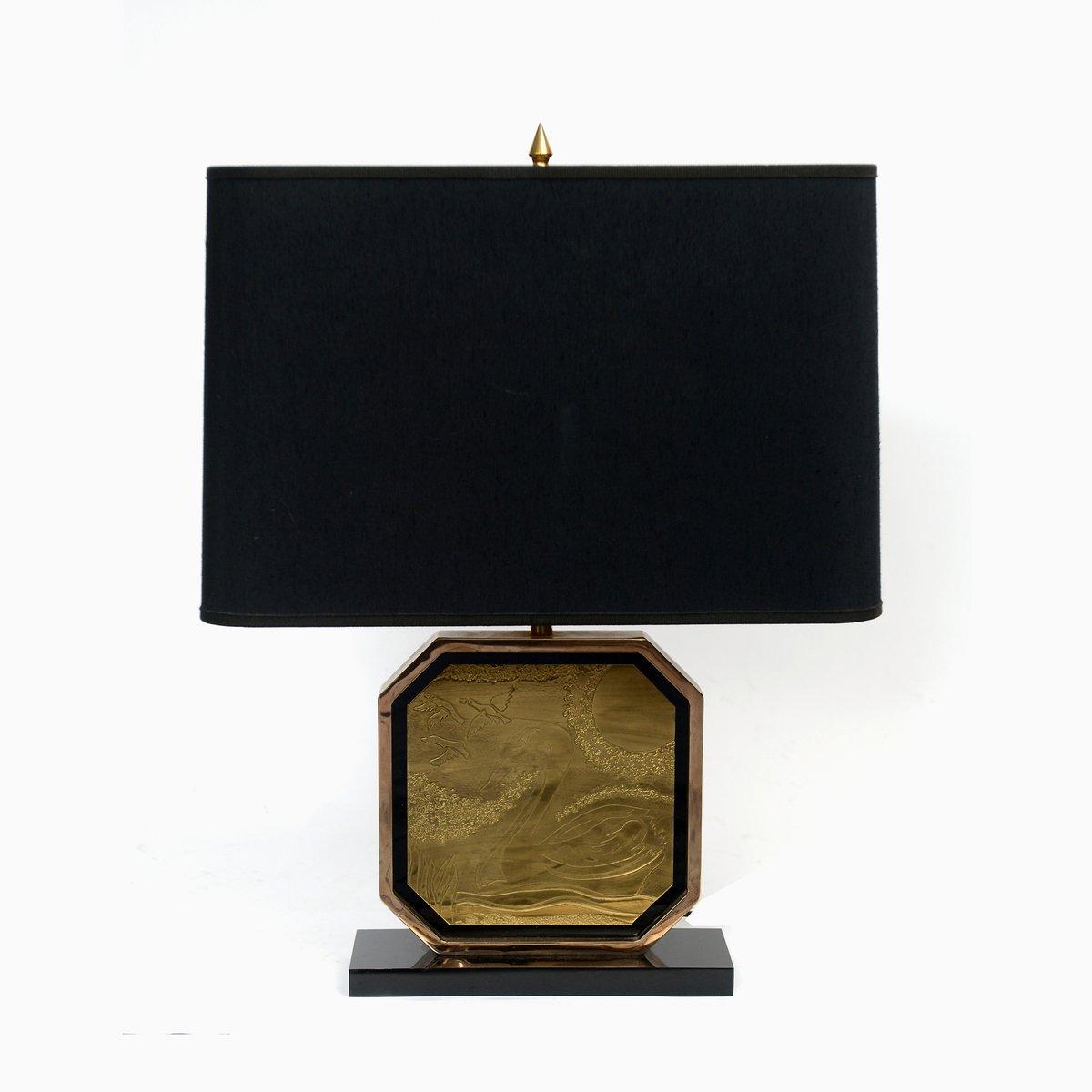23 Karat Vergoldete Tischlampe aus Geätztem Messing von George Matthia...