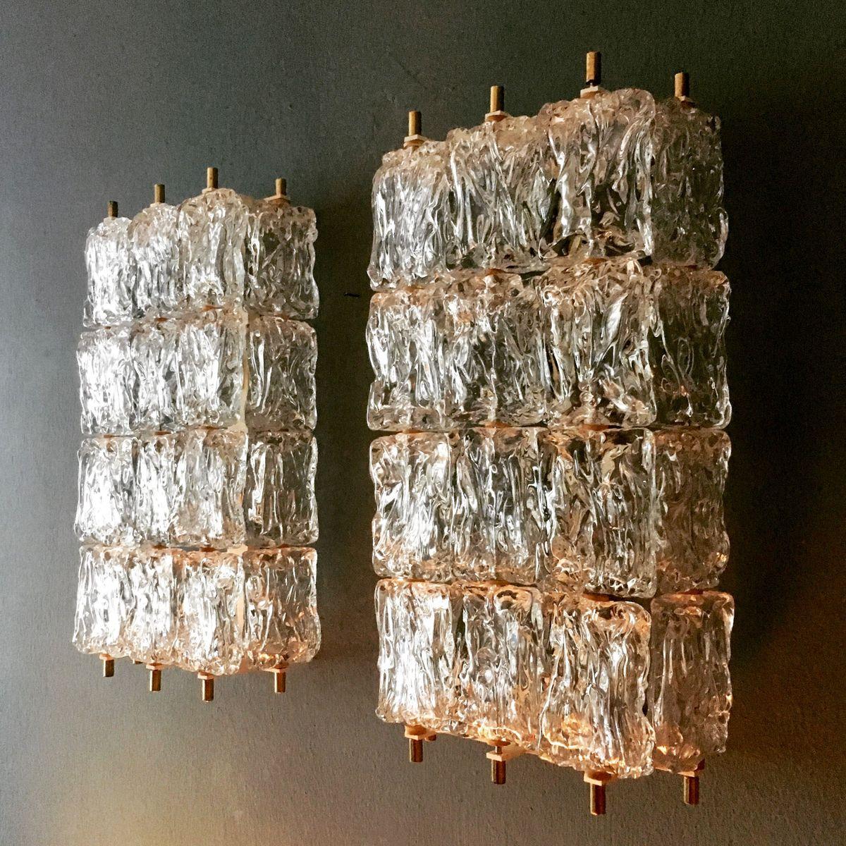 Große Kristallglas Wandlampen von Aureliano Toso für Vereinigte Werkst...